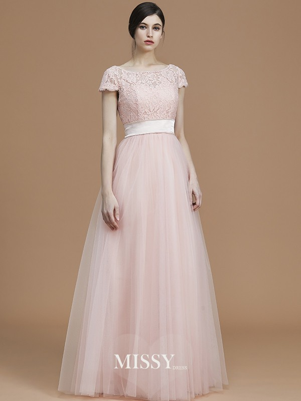 A-Line/Princess Bateau Short Sleeves Floor-Length Sash/Ribbon/Belt Tulle Bridesmaid Dresses