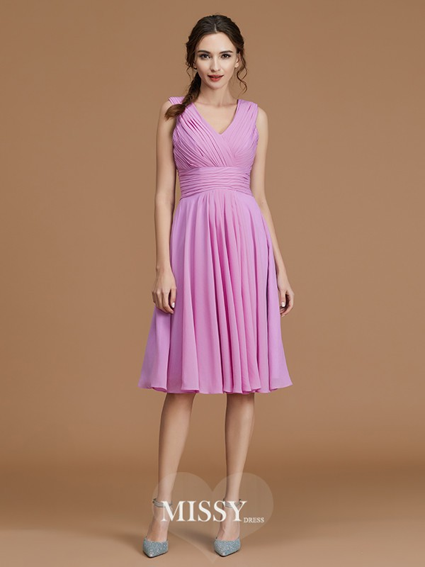 A-Line/Princess V-neck Ruched Short/Mini Chiffon Bridesmaid Dresses