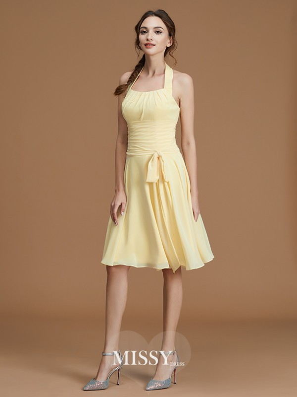A-Line/Princess Halter Ruffles Short/Mini Chiffon Bridesmaid Dresses