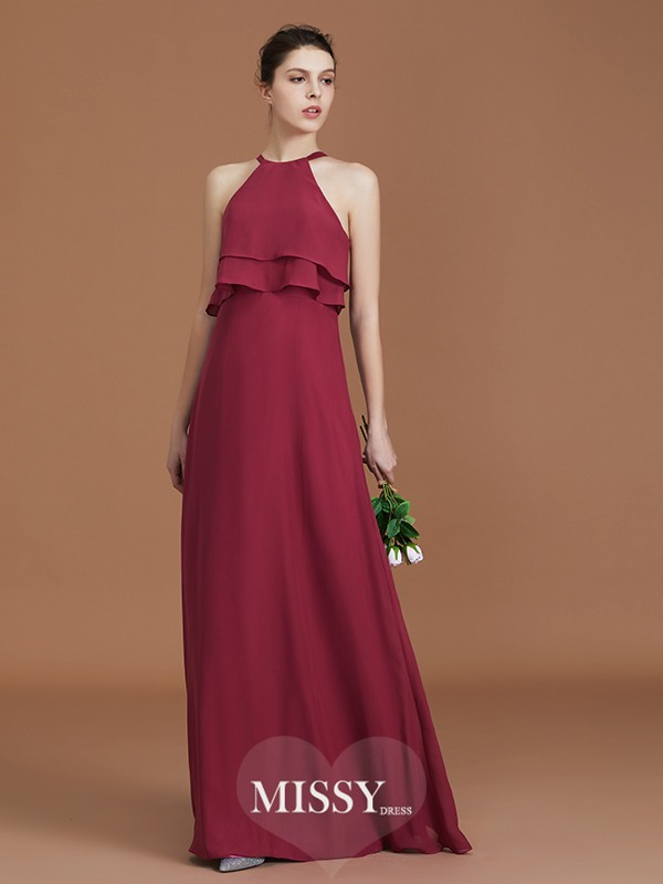 A-Line/Princess Scoop Ruffles Floor-Length Chiffon Bridesmaid Dresses