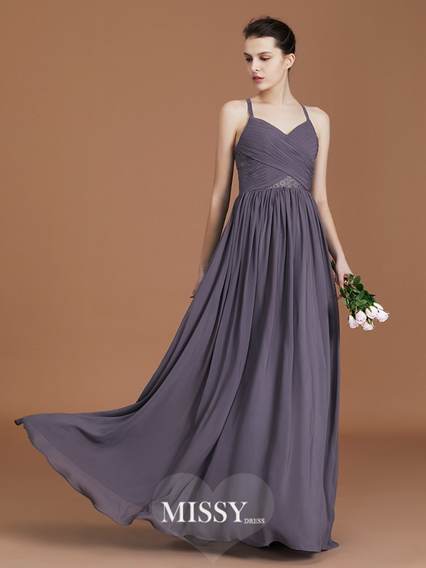 A-Line/Princess Spaghetti Straps Lace Floor-Length Chiffon Bridesmaid Dresses