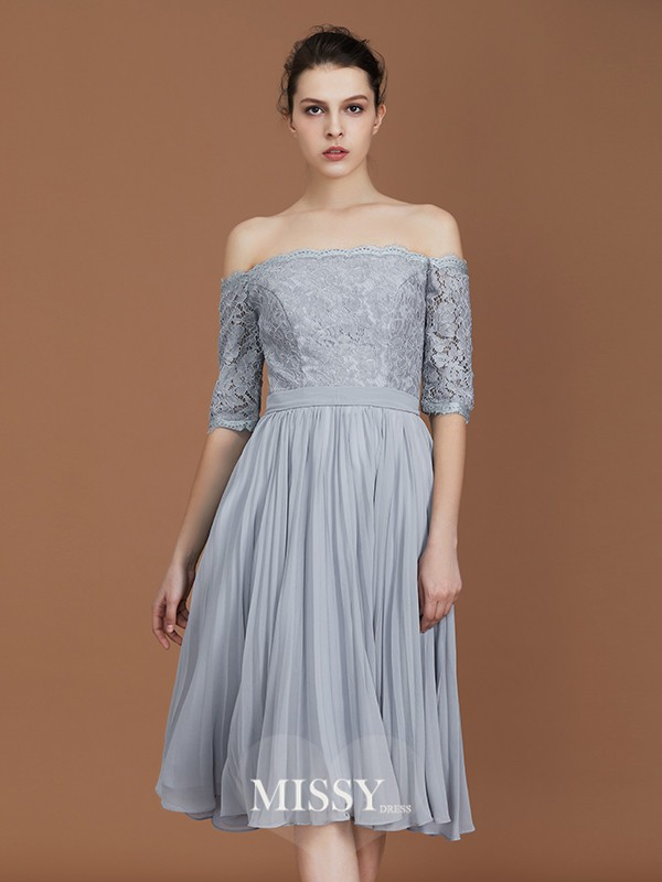 A-Line/Princess Off-the-Shoulder Lace Tea-Length Chiffon Bridesmaid Dresses