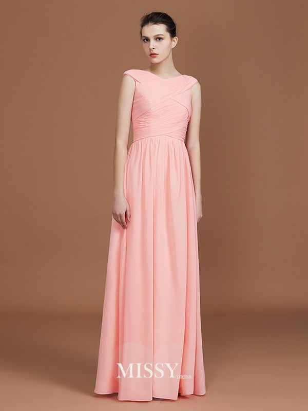 A-Line/Princess V-neck Ruffles Floor-Length Chiffon Bridesmaid Dresses