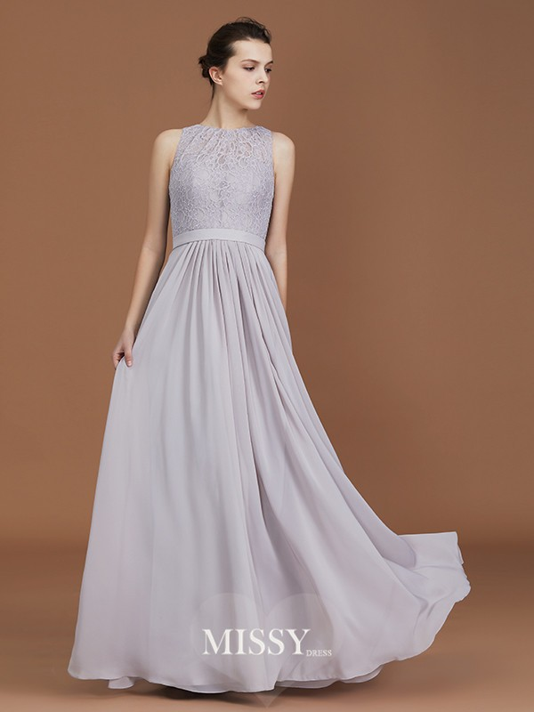 A-Line/Princess Scoop Lace Floor-Length Chiffon Bridesmaid Dresses