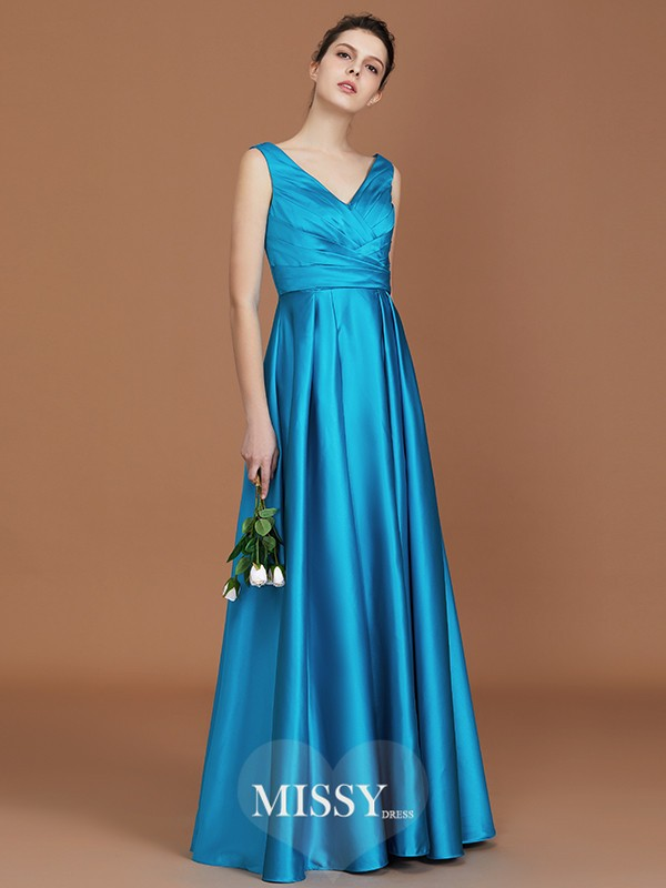A-Line/Princess V-neck Ruffles Floor-Length Satin Bridesmaid Dresses