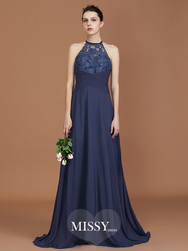 A-Line/Princess Scoop Lace Sweep Train Chiffon Bridesmaid Dresses