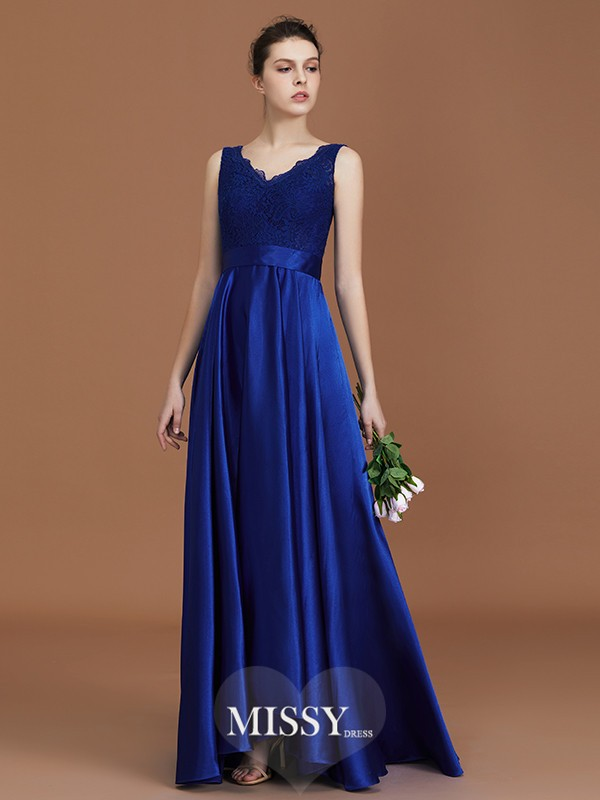A-Line/Princess V-neck Lace Asymmetrical Satin Bridesmaid Dresses