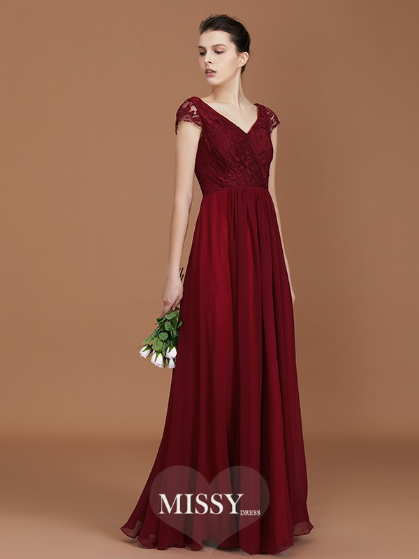 A-Line/Princess V-neck Lace Floor-Length Chiffon Bridesmaid Dresses