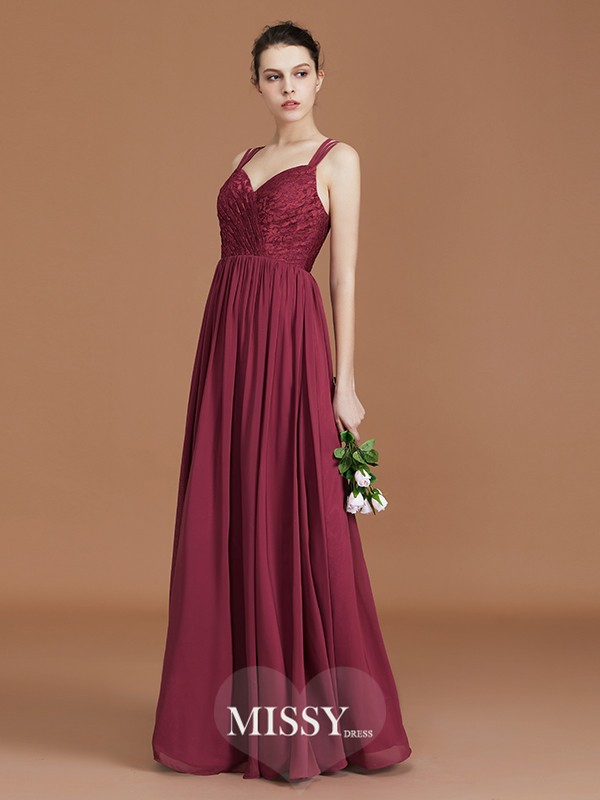 A-Line/Princess Sweetheart Lace Floor-Length Chiffon Bridesmaid Dresses