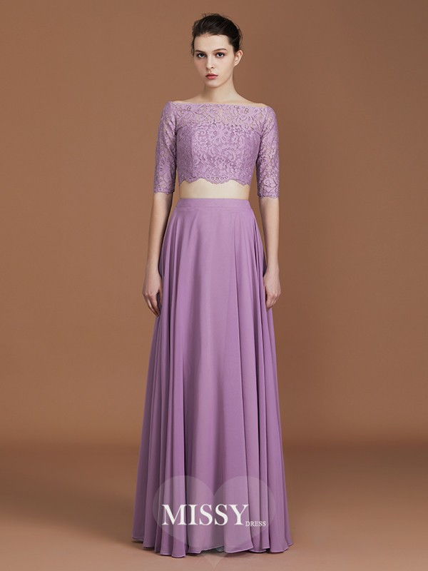 A-Line/Princess Off-the-Shoulder Lace Floor-Length Chiffon Bridesmaid Dresses