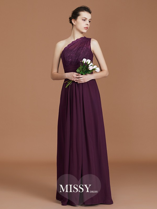 A-Line/Princess One-Shoulder Lace Floor-Length Chiffon Bridesmaid Dresses