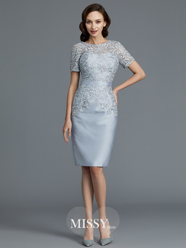 Sheath/Column Scoop Short Sleeves Knee-Length Satin Mother of the Bride Dresses