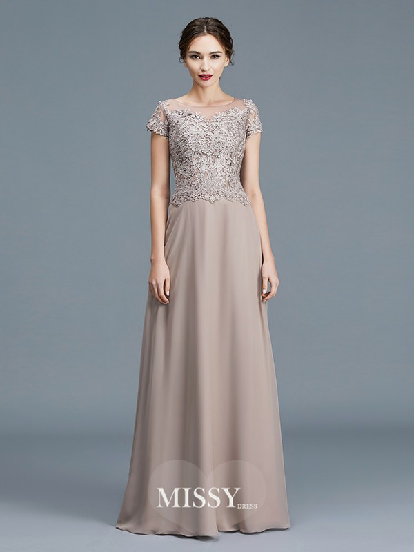 A-Line/Princess Scoop Applique Floor-Length Chiffon Mother of the Bride Dresses