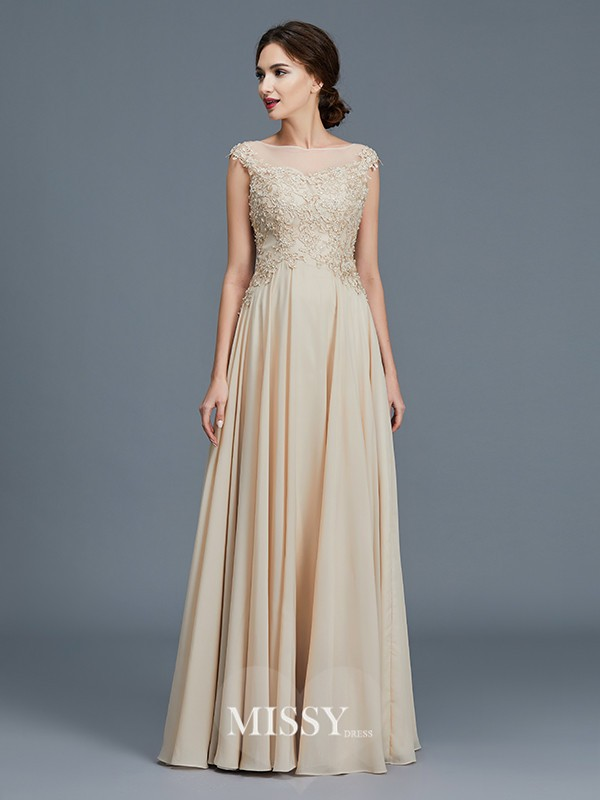 A-Line/Princess Scoop Ruffles Chiffon Floor-Length Mother of the Bride Dresses