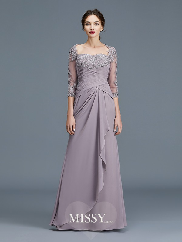 Sheath/Column Sweetheart Ruffles Chiffon Floor-Length Mother of the Bride Dresses