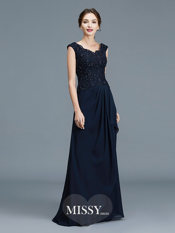 A-Line/Princess V-neck Ruffles Floor-Length Chiffon Mother of the Bride Dresses