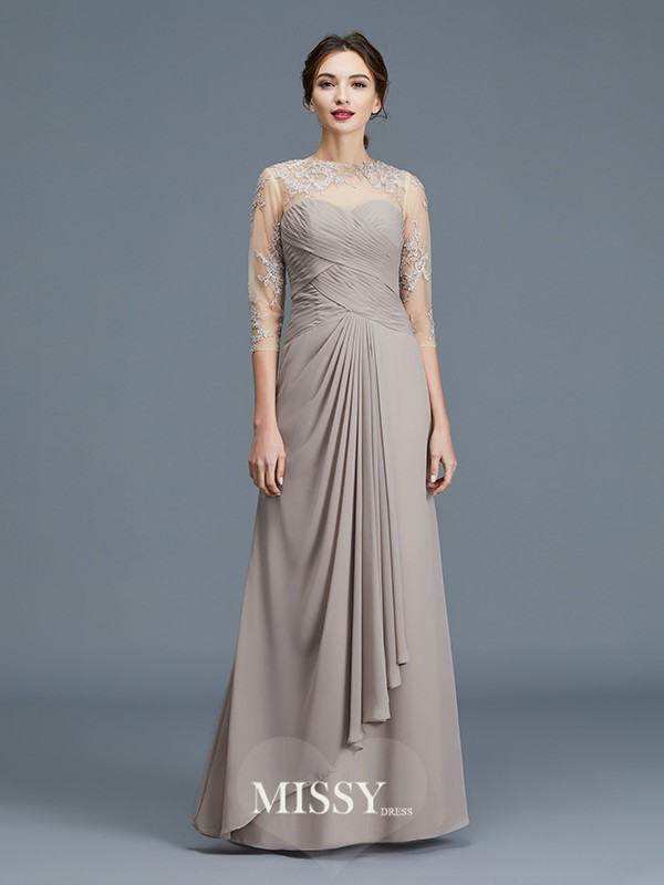 A-Line/Princess Sheer Neck Ruffles Chiffon Floor-Length Mother of the Bride Dresses
