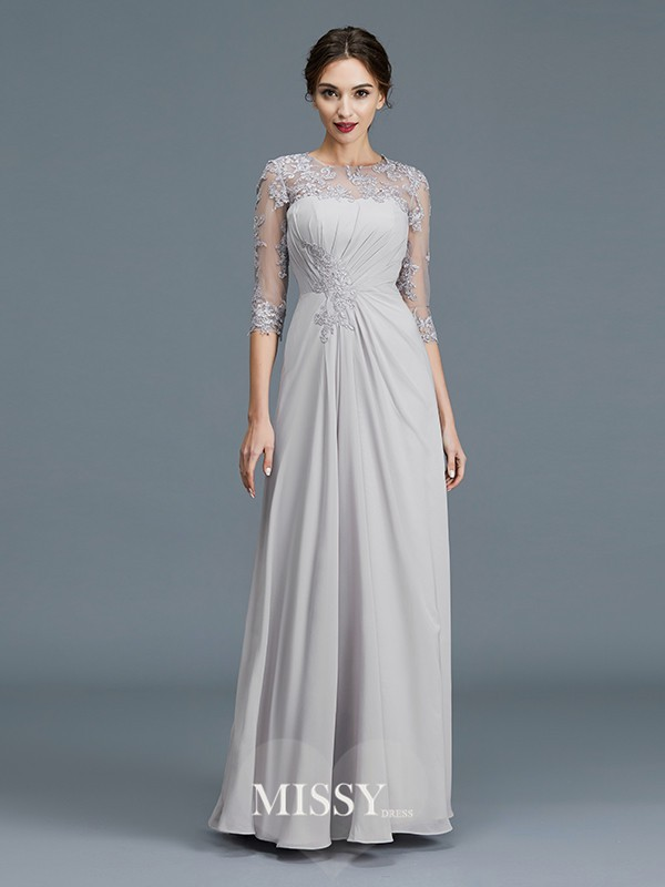 A-Line/Princess Scoop Chiffon Ruffles Floor-Length Mother of the Bride Dresses