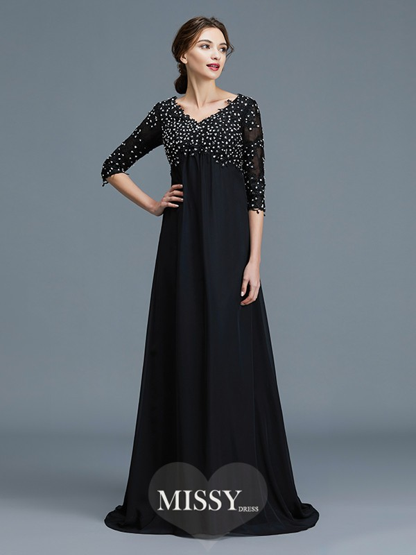 A-Line/Princess V-neck Beading Chiffon Floor-Length Mother of the Bride Dresses