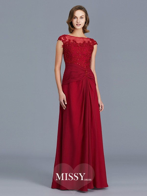 Sheath/Column Scoop Ruffles Floor-Length Chiffon Mother of the Bride Dresses
