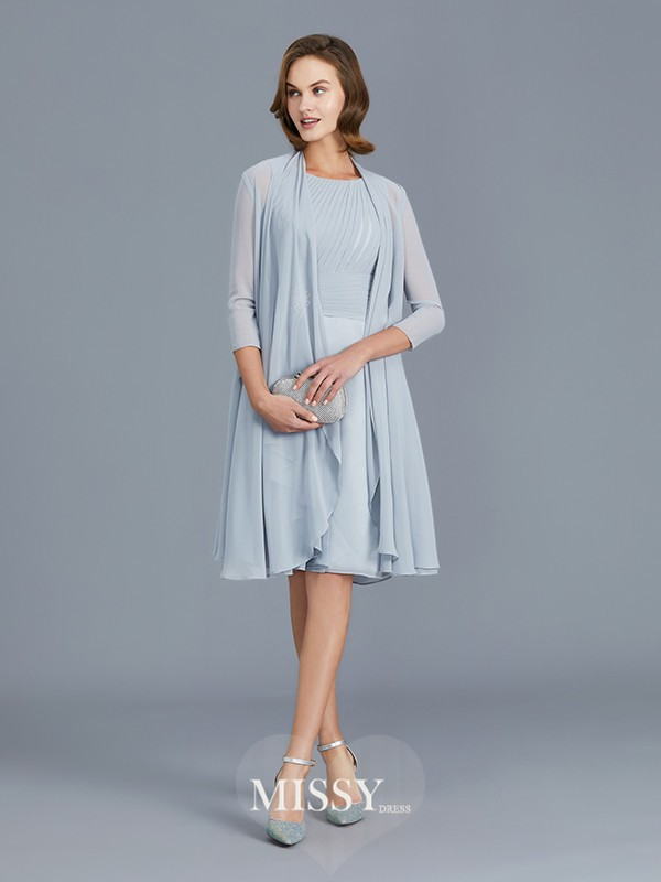 A-Line/Princess Scoop Ruffles Knee-Length Chiffon Mother of the Bride Dresses