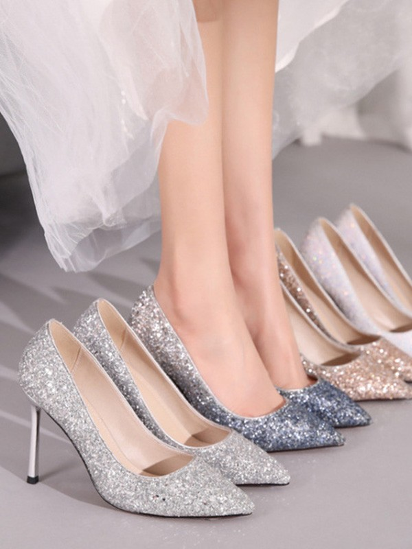 Women Sparkling Glitter Closed Toe Stiletto Heel High Heels