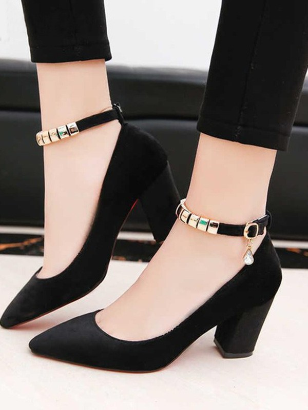 Women PU Chunky Heel Closed Toe Sandals