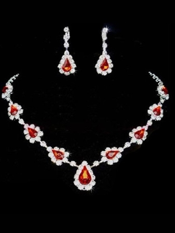 Korean Graceful Rhinestone Wedding Bridal Jewelry Set