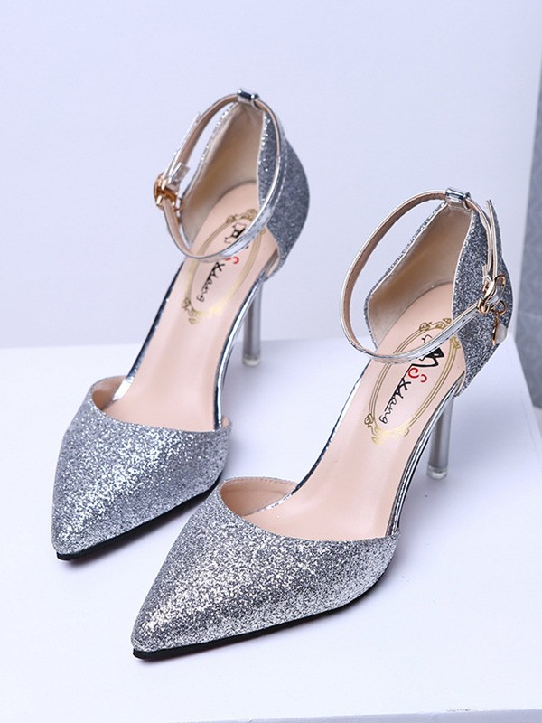 Women Closed Toe Sparkling Glitter Stiletto Heel High Heels