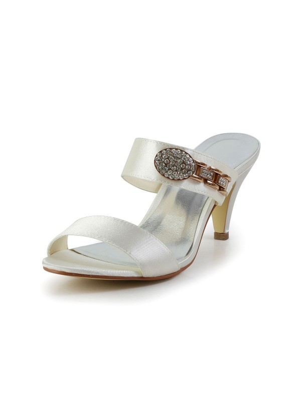Women's Attractive Satin Peep Toe Cone Heel With Rhinestone Sandal Shoes
