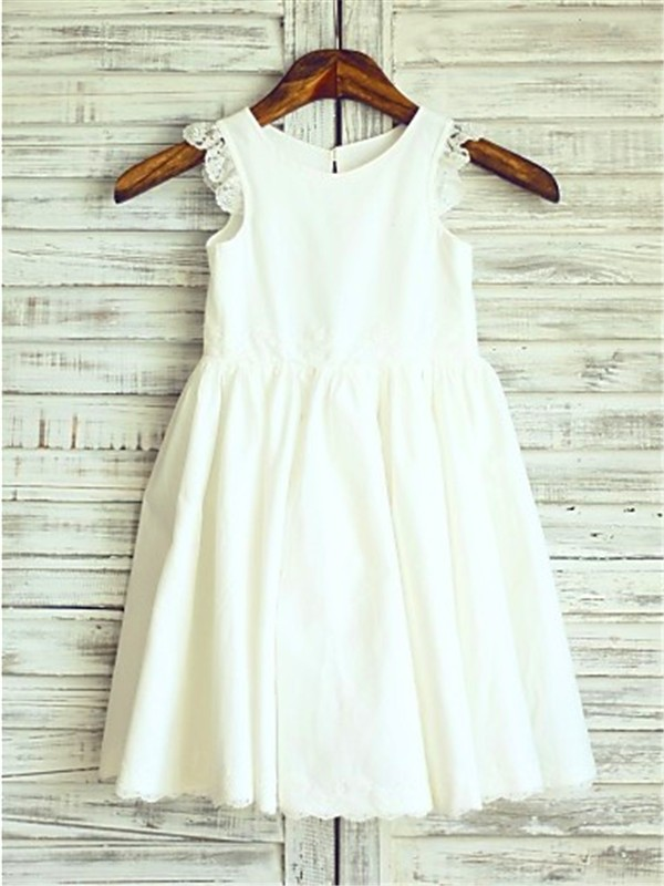 A-line/Princess Scoop Sleeveless Lace Tea-Length Chiffon Flower Girl Dress