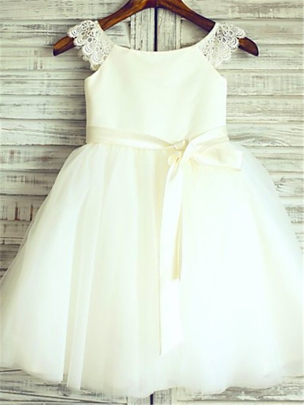 A-line/Princess Sleeveless Scoop Sash/Ribbon/Belt Knee-Length Tulle Little Girl Dresses