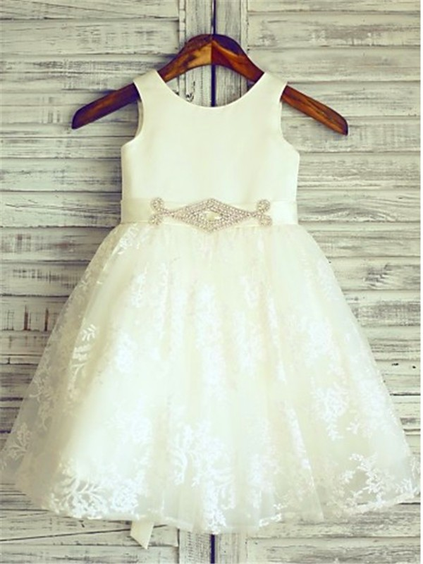 A-line/Princess Scoop Sash/Ribbon/Belt Sleeveless Knee-Length Lace Little Girl Dresses