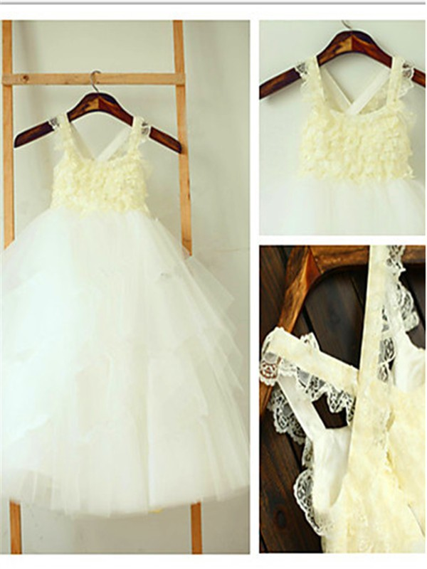 Ball Gown Square Sleeveless Layers Tea-Length Tulle Little Girl Dresses