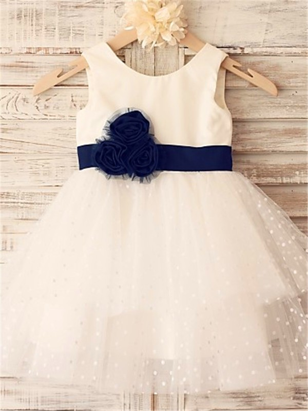A-line/Princess Sleeveless Scoop Hand-made Flower Tea-Length Organza Little Girl Dresses