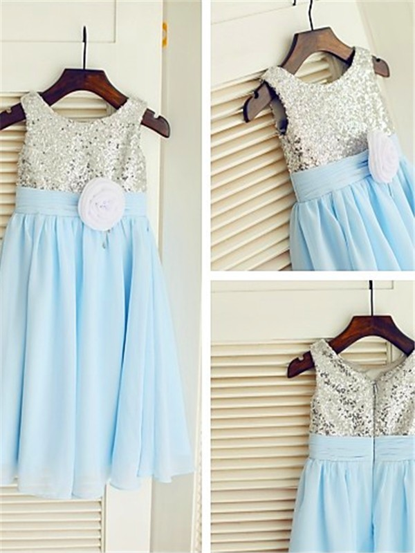 A-line/Princess Scoop Sleeveless Sequin Tea-Length Chiffon Little Girl Dresses