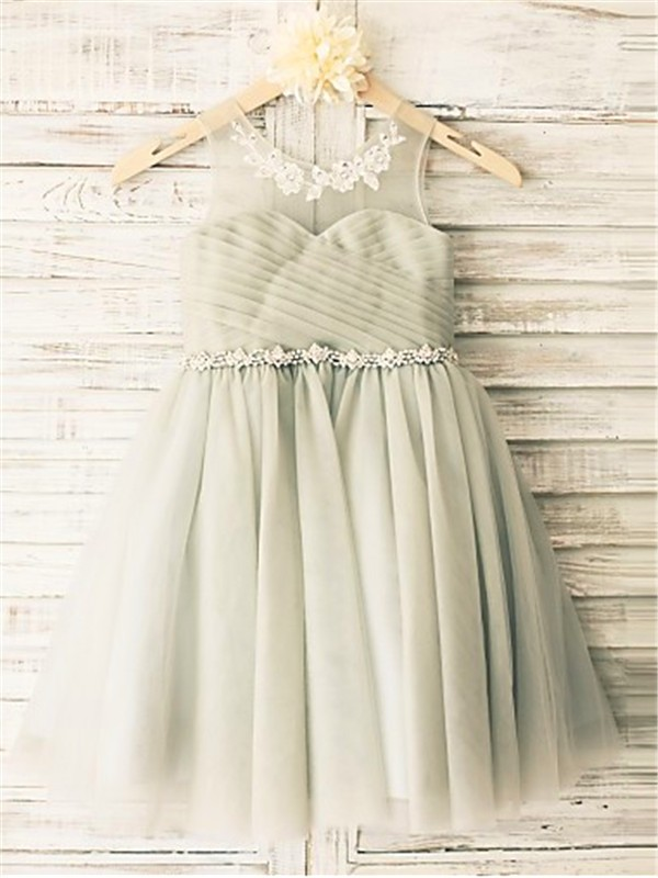 A-line/Princess Scoop Sleeveless Beading Tea-Length Tulle Little Girl Dresses