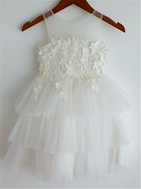 A-line/Princess Straps Sleeveless Lace Tea-Length Tulle Little Girl Dresses