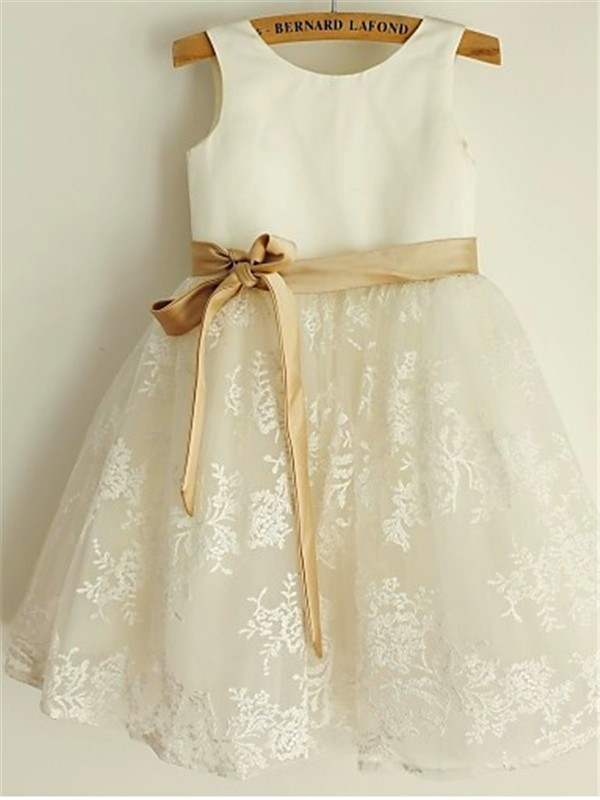 A-line/Princess Scoop Sleeveless Tea-Length Lace Little Girl Dresses