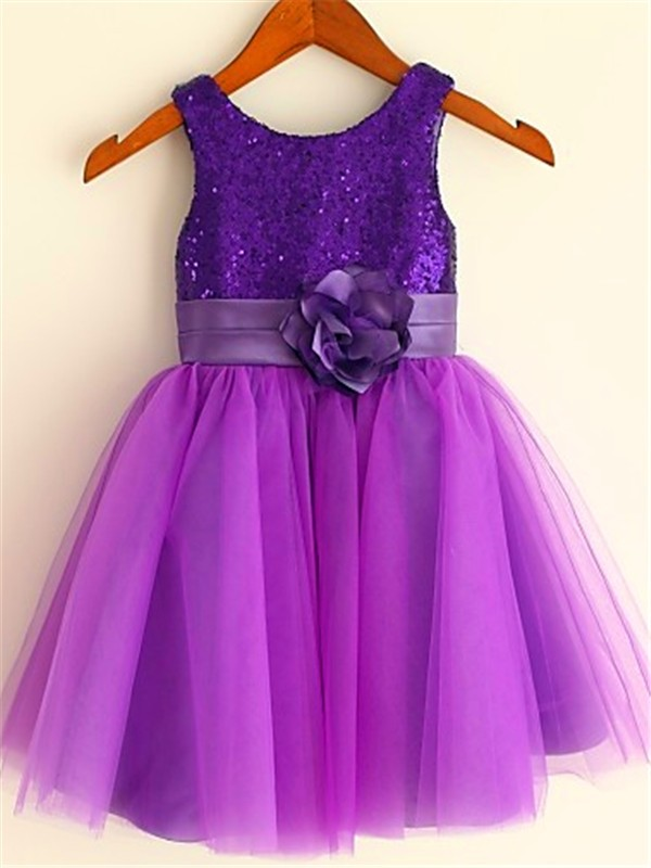 A-line/Princess Scoop Sleeveless Sequin Tea-Length Tulle Flower Girl Dresses