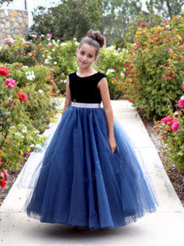A-Line/Princess Scoop Ankle-Length Sash/Ribbon/Belt Tulle Flower Girl Dresses