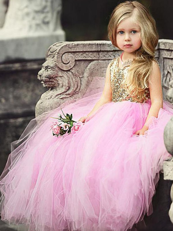 Ball Gown Scoop Floor-Length Sequin Tulle Flower Girl Dresses