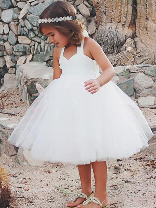 A-Line/Princess Halter Tea-Length Ruffles Tulle Flower Girl Dresses