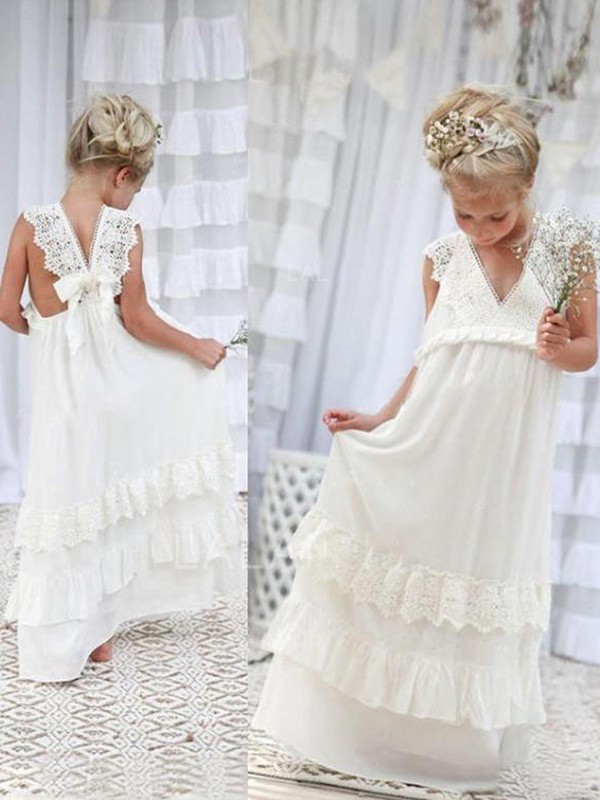 Empire V-neck Floor-Length Lace Chiffon Flower Girl Dresses