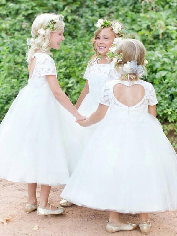 Ball Gown Scoop Tea-Length Lace Tulle Flower Girl Dresses