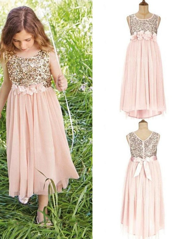 A-Line/Princess Scoop Asymmetrical Sequin Chiffon Flower Girl Dresses
