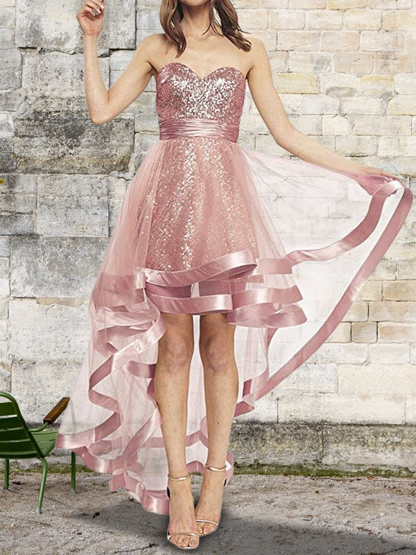 A-Line/Princess Sweetheart Asymmetrical Sequin Organza Dresses
