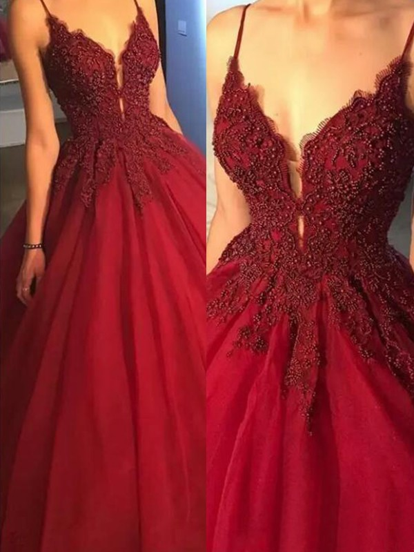 Ball Gown Spaghetti Straps Sweep/Brush Train Applique Tulle Dresses