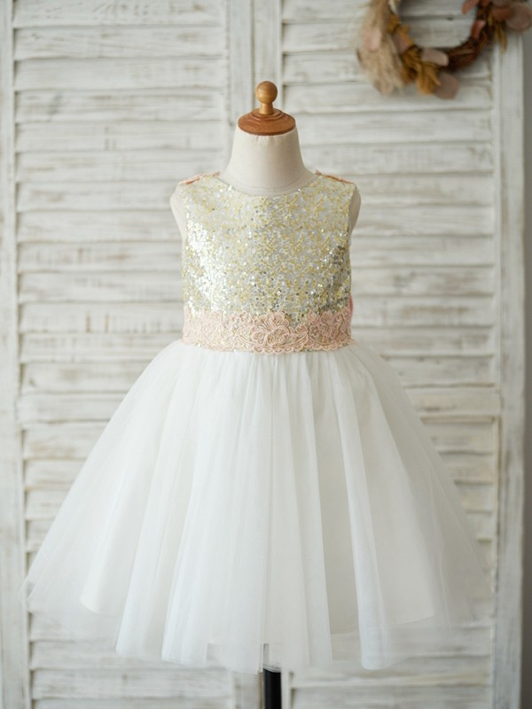 A-Line/Princess Scoop Knee-Length Bowknot Tulle Flower Girl Dresses