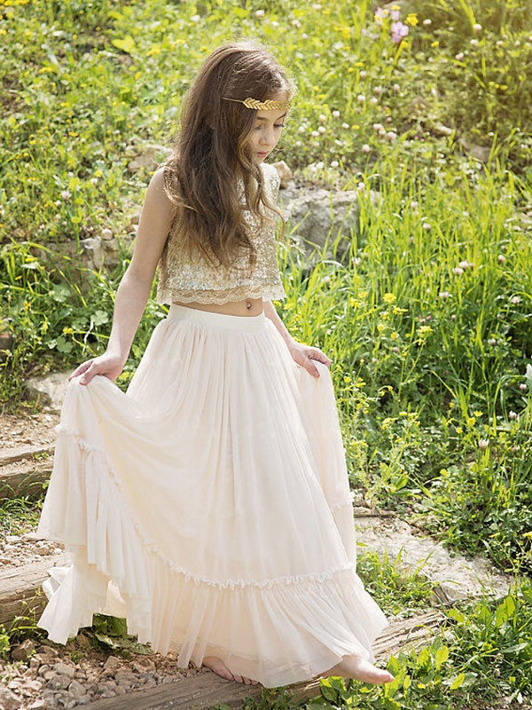 A-Line/Princess Scoop Floor-Length Sequin Chiffon Flower Girl Dresses
